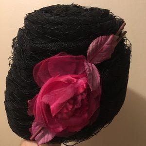 Accessories - Black embellished pillbox hat